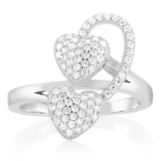 Sterling Silver Cubic Zirconia Micro Pave Heart Ring (3 options available)