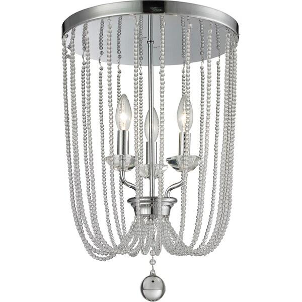Avery Home Lighting Serenade 3-light Chrome and Crystal Flush Mount