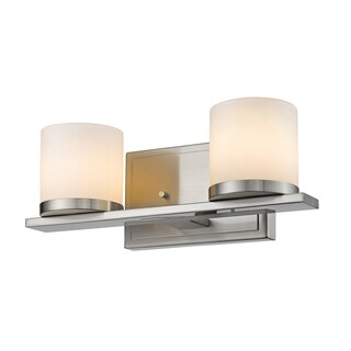Z-Lite Nori Brushed Nickel 2-light Matte Opal Glass Shade Vanity