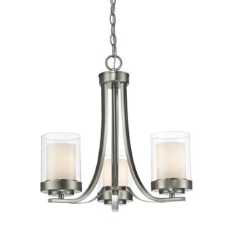 Link to Avery Home Lighting Willow 3-light Brushed Nickel Chandelier Similar Items in Chandeliers