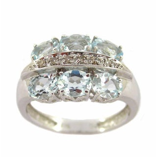 Kabella 14k White Gold Vintage Aquamarine Diamond Accent Ring (Size 7)