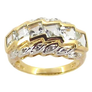 Kabella 14k Yellow Gold Aquamarine Diamond Accent Ring (Size 7 only)