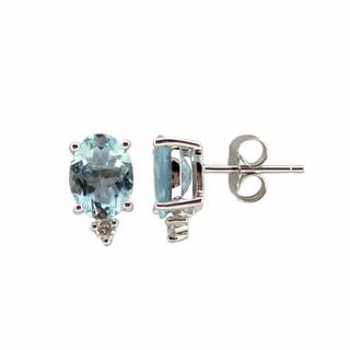 Kabella 14k White Gold Aquamarine Diamond Accent Earrings