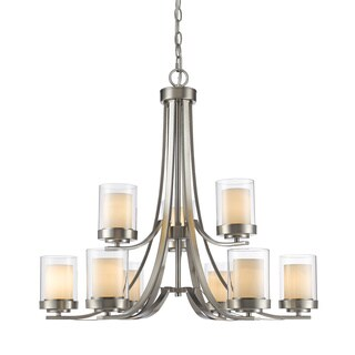 Avery Home Lighting Willow Brushed Nickel 9-light Inner Matte Opal & Outer Clear Chandelier