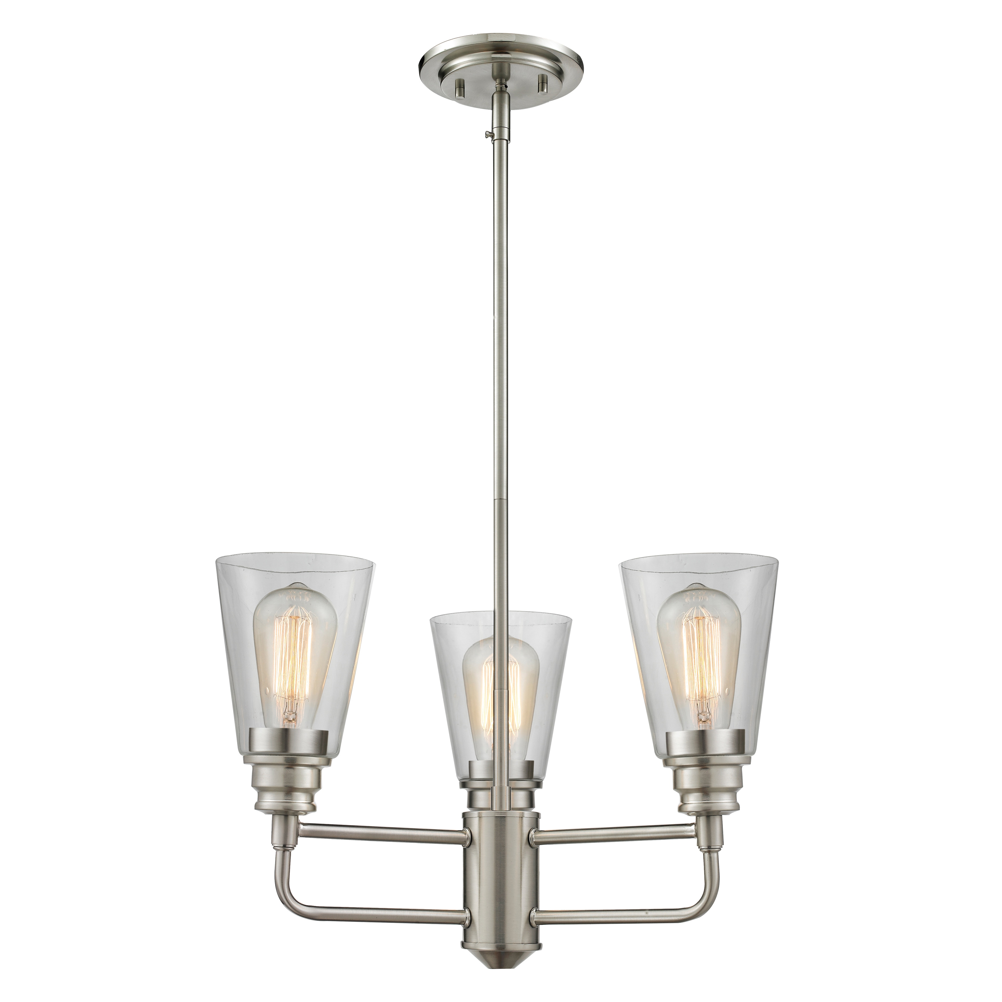 Image of: Shop Avery Home Lighting Annora 3 Light Brushed Nickel Clear Glass Chandelier Overstock 9957983