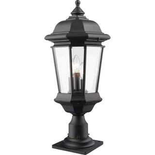 Z-Lite Melbourne 3-Light Black Outdoor Pier Mount Light