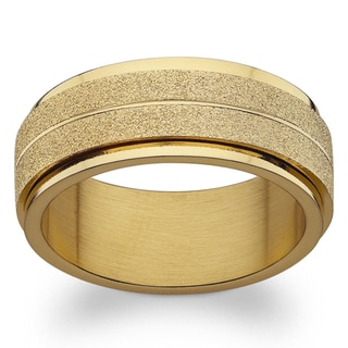 Link to Gold over Stainless Steel Engraved Frosted Spinner Band Similar Items in Rings