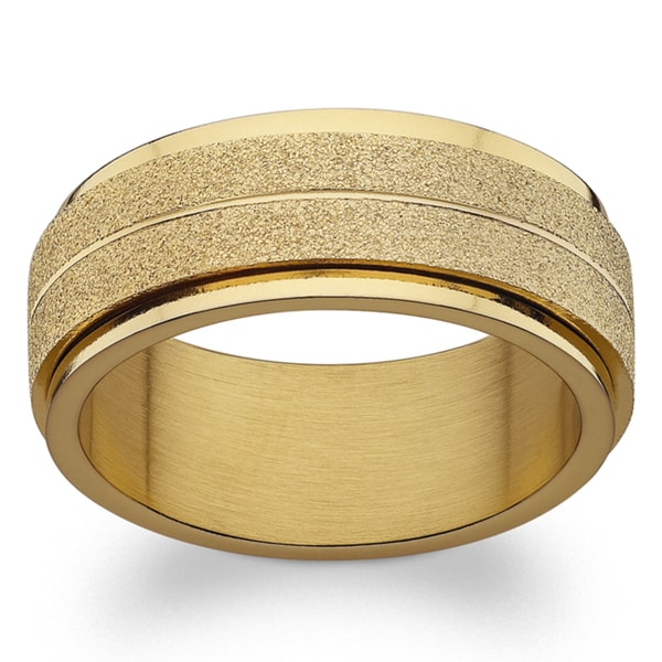 Gold over Stainless Steel Engraved Frosted Spinner Band. Opens flyout.