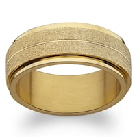 Gold over Stainless Steel Engraved Frosted Spinner Band