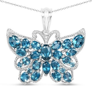 Olivia Leone 4.81 Carat Genuine London Blue Topaz .925 Sterling Silver Pendant