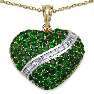 Malaika 14K Yellow Gold Plated 4.61 Carat Chrome-Diopside and White Topaz .925 Sterling Silver Pendant