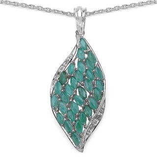 Malaika 2.12 Carat Emerald and White Topaz .925 Sterling Silver Pendant