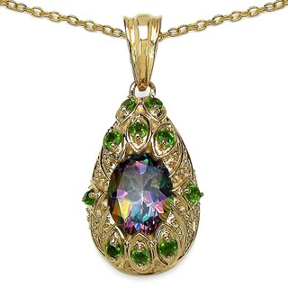 Malaika 14K Yellow Gold Plated 3.75 Carat Mydtic Topaz and Chrome-Diopside .925 Sterling Silver Pendant