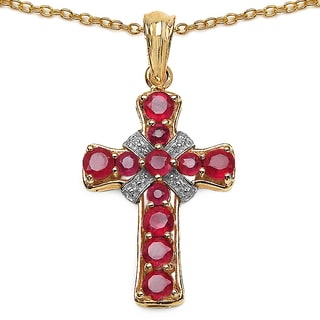 Malaika 14K Yellow Gold Plated 2.67 Carat Genuine Glass Filled Ruby .925 Sterling Silver Pendant