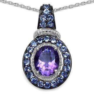 Malaika 3.06 Carat Amethyst and Tanzanite .925 Sterling Silver Pendant