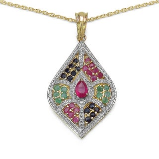 Malaika 14K Yellow Gold Plated 2.03 Carat Genuine Multi .925 Sterling Silver Pendant