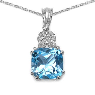 Malaika 8.43 Carat Blue Topaz and White Topaz .925 Sterling Silver Pendant