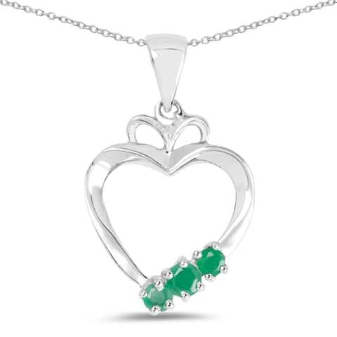Malaika 0.24 Carat Genuine Emerald .925 Sterling Silver Pendant