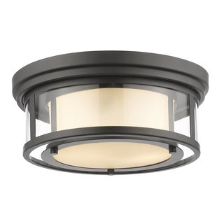Z-Lite Luna 2-light Bronze with Matte Opal Glass Shade Flush Mount