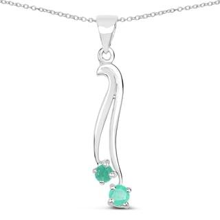 Malaika 0.27 Carat Genuine Emerald .925 Sterling Silver Pendant