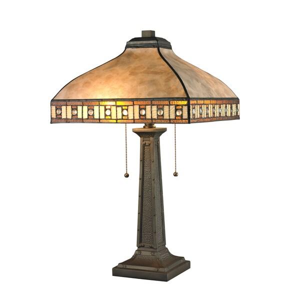 Avery Home Lighting White Mica 2-Light Java Bronze Table Lamp