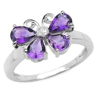 Malaika 1.35 Carat Genuine Amethyst and White Diamond .925 Sterling Silver Ring