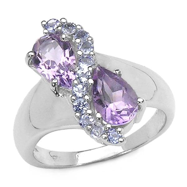Malaika 1.87 Carat Amethyst and Tanzanite .925 Sterling Silver Ring