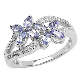 Malaika 0.65 Carat Genuine Tanzanite and White Diamond .925 Sterling Silver Ring