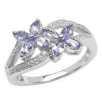 Malaika 0.65 Carat Genuine Tanzanite and White Diamond .925 Sterling Silver Ring