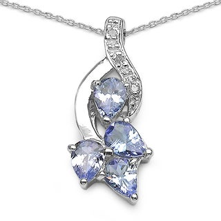 Malaika 1.14 Carat Tanzanite and White Topaz .925 Sterling Silver Pendant