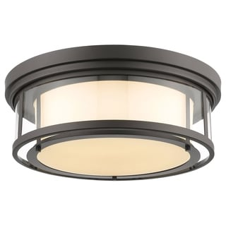 Z-Lite Luna 4-light Bronze Matte Opal Glass Shade Flush Mount