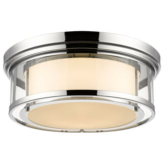 Z-Lite Luna 4-light Chrome Matte Opal Glass Shade Flush Mount