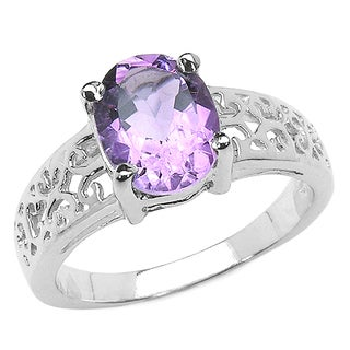 Malaika 1.80 Carat Genuine Amethyst .925 Sterling Silver Ring