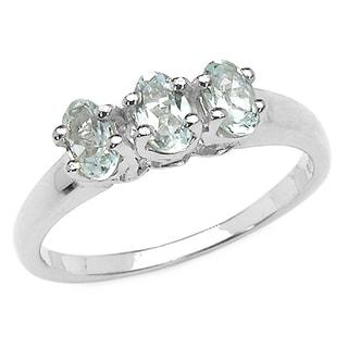 Malaika 0.60 Carat Genuine Aquamarine .925 Sterling Silver Ring