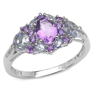 Malaika 2.31 Carat Amethyst and Tanzanite .925 Sterling Silver Ring