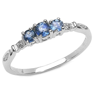 Malaika 0.34 Carat Genuine Blue sapphire .925 Sterling Silver Ring