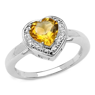Malaika 1.01 Carat Genuine Citrine and White Diamond .925 Sterling Silver Ring
