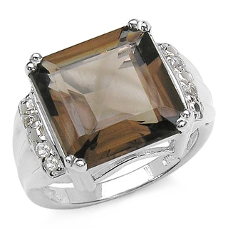 Malaika 9.40 Carat Genuine Smoky Topaz and White Topaz .925 Sterling Silver Ring