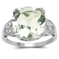 Olivia Leone 6.32 Carat Genuine Green Amethyst and White Diamond .925 Sterling Silver Ring