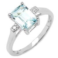 Malaika 1.86 Carat Genuine Blue Topaz and White Diamond .925 Sterling Silver Ring