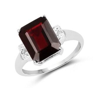 Malaika 5.32 Carat Genuine Garnet and White Diamond .925 Sterling Silver Ring