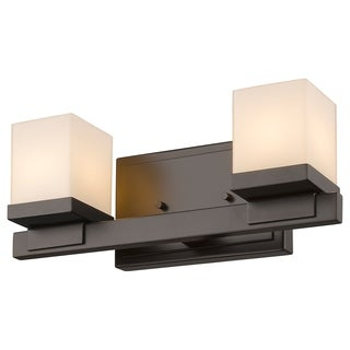 Z-Lite Cadiz 2-light Bronze Matte Opal Glass Shade Vanity