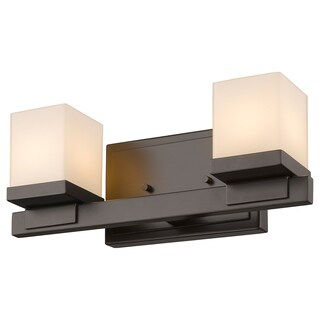 Avery Home Lighting Cadiz 2-light Bronze Matte Opal Glass Shade Vanity