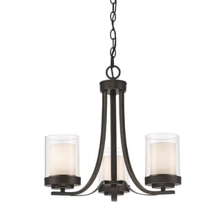 Z-Lite Willow 3-light Olde Bronze Inner Matte Opal and Outer Clear Chandelier