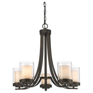 Z-Lite Willow 5-light Olde Bronze Inner Matte Opal and Outer Clear Chandelier