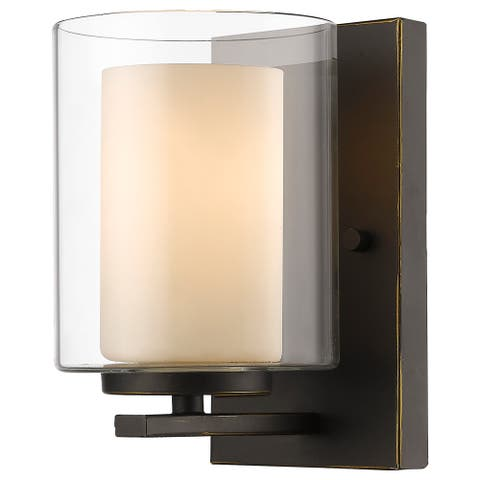 Avery Home Lighting Willow 1-light Inner Matte Opal and Outer Clear Wall Sconce