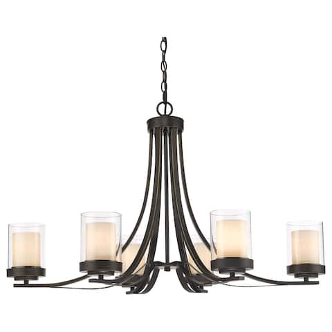 Avery Home Lighting Willow 6-light Olde Bronze Inner Matte Opal and Outer Clear Chandelier