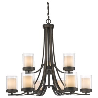 Z-Lite Willow 9-light Olde Bronze Inner Matte Opal and Outer Clear Chandelier