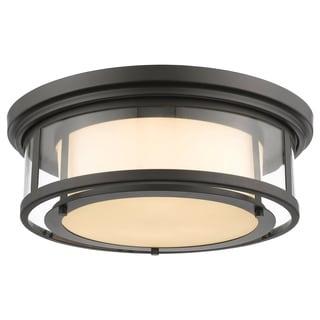 Z-Lite Luna 3-light Bronze with Matte Opal Glass Shade Flush Mount