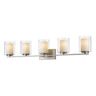 Z-Lite Willow 5-light Inner Matte Opal Glass Shade and Clear Outer Glass Shade Vanity